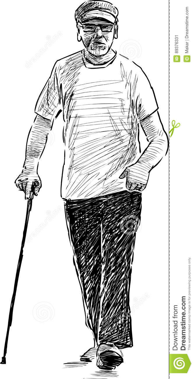 Sketch Of An Old Man On A Stroll Stock Vector