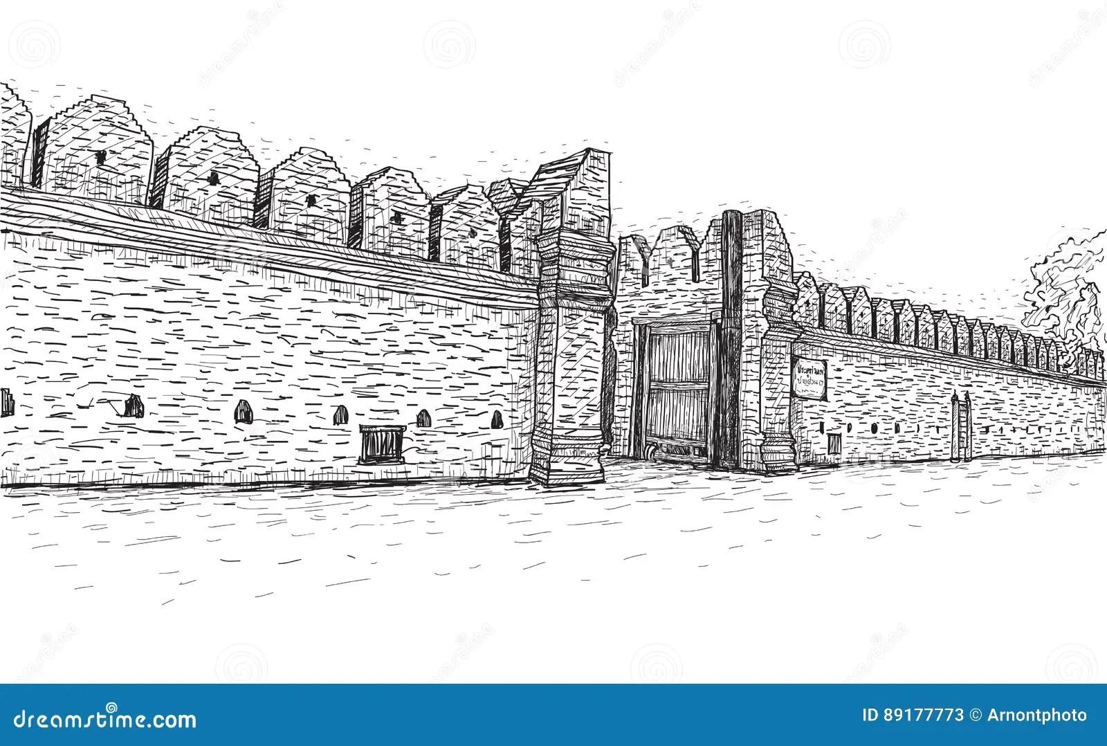 Sketch Of Old Wall Gate Tha Phae Gate In Thailand