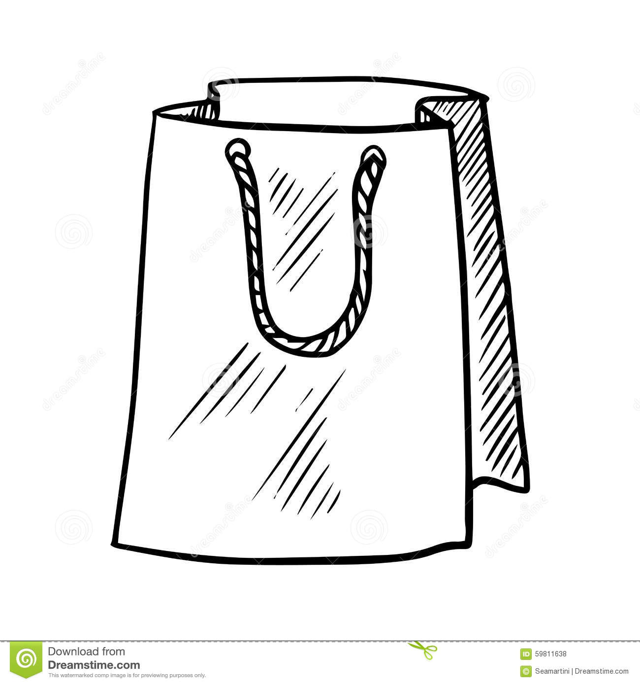 Sketch Of Paper Shopping Bag Stock Vector