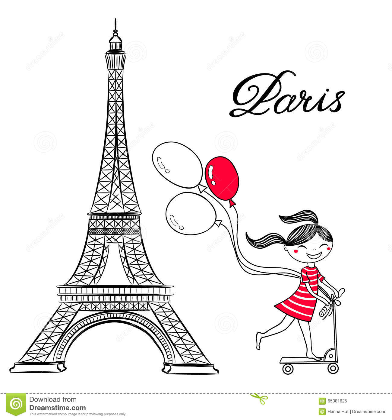 Sketch Of Paris Eiffel Tower And Girl On Scooter With Air