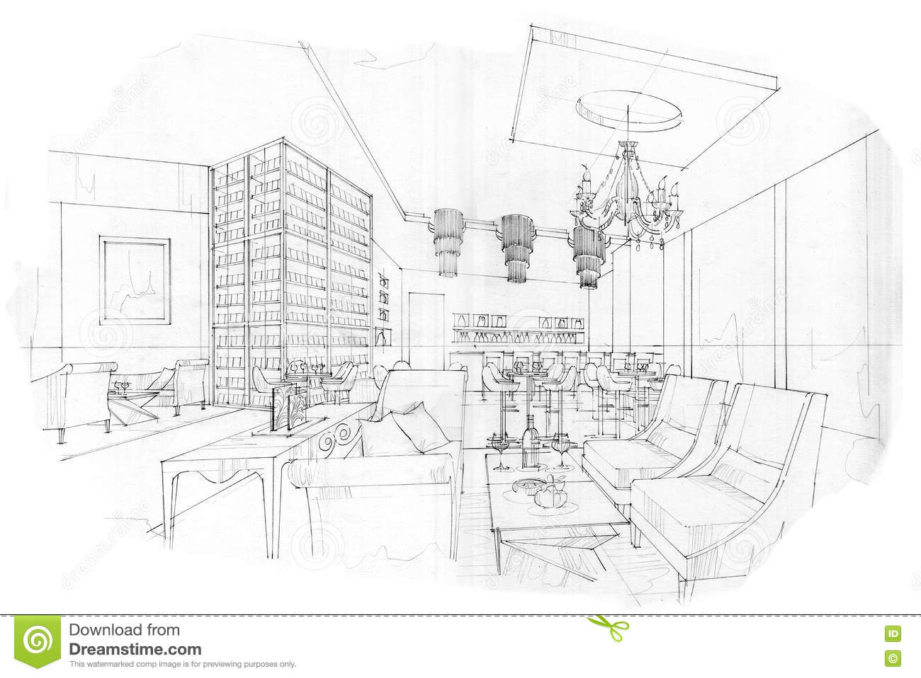 Sketch Perspective Interior Lobby Lounge Black And White