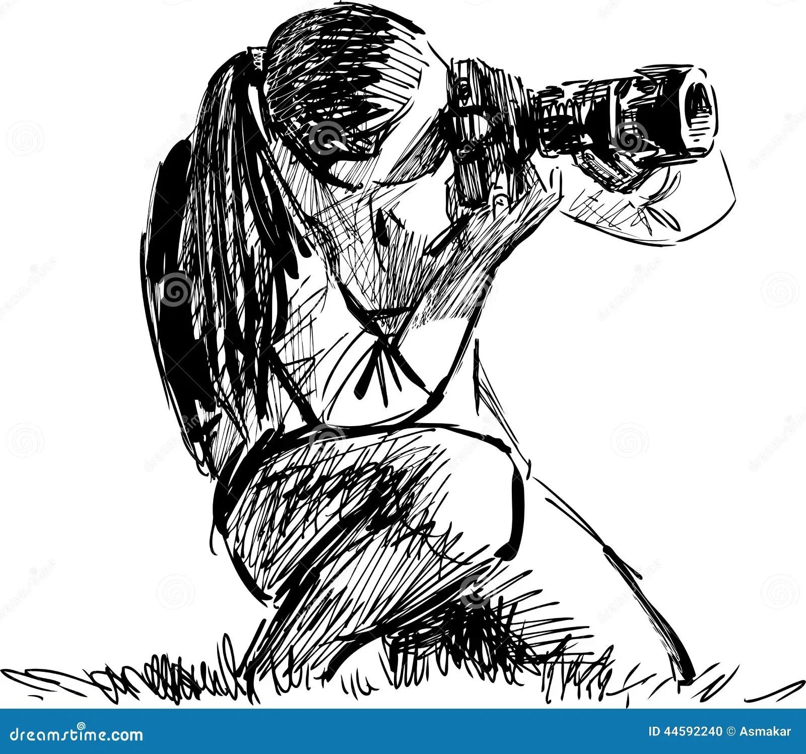 Sketch Of A Photographer Stock Vector