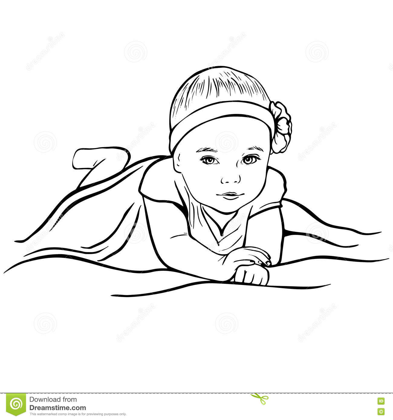 Sketch Portrait Of Pretty Baby Girl Stock Vector