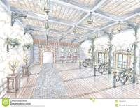 Sketch Of Restaurant Hall In Style Of City Street Stock ...