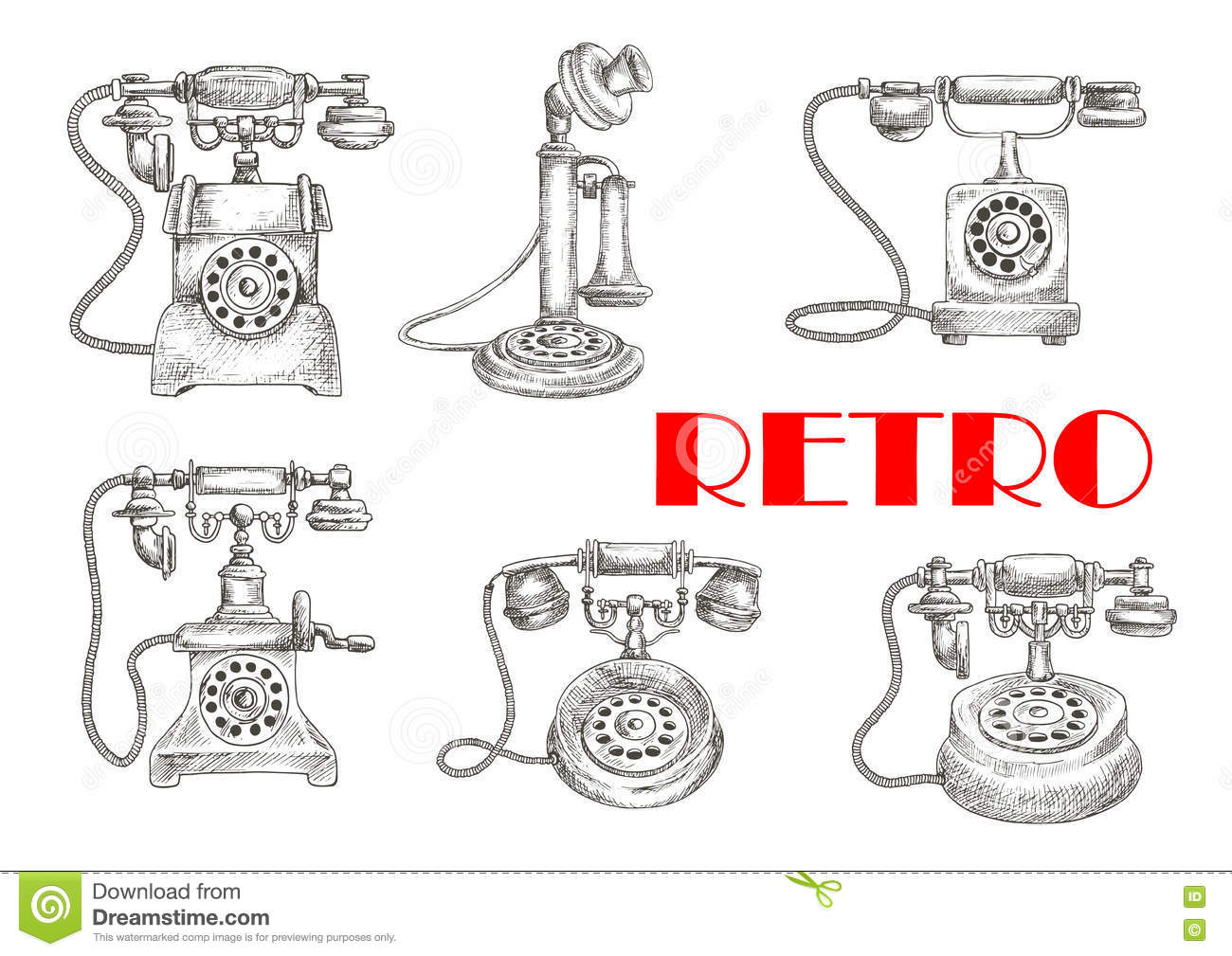 Sketch Of Retro Telephones With Rotary Dials Stock Vector