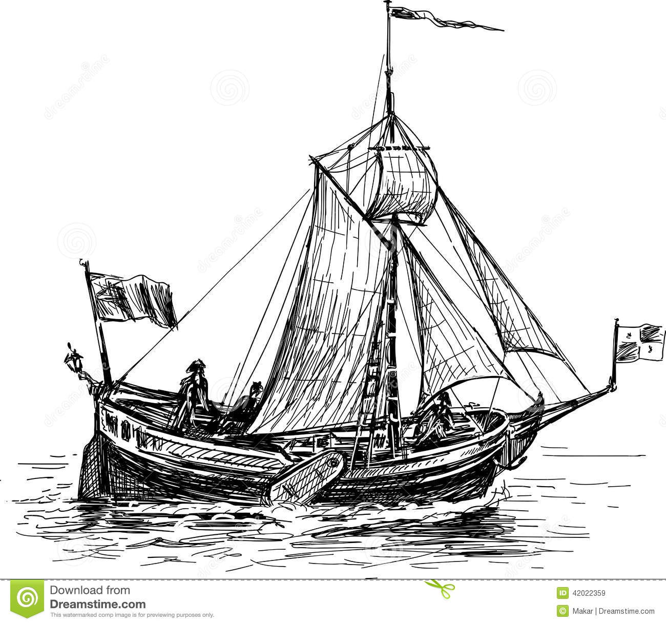 Sketch Of The Sailing Boat Stock Vector