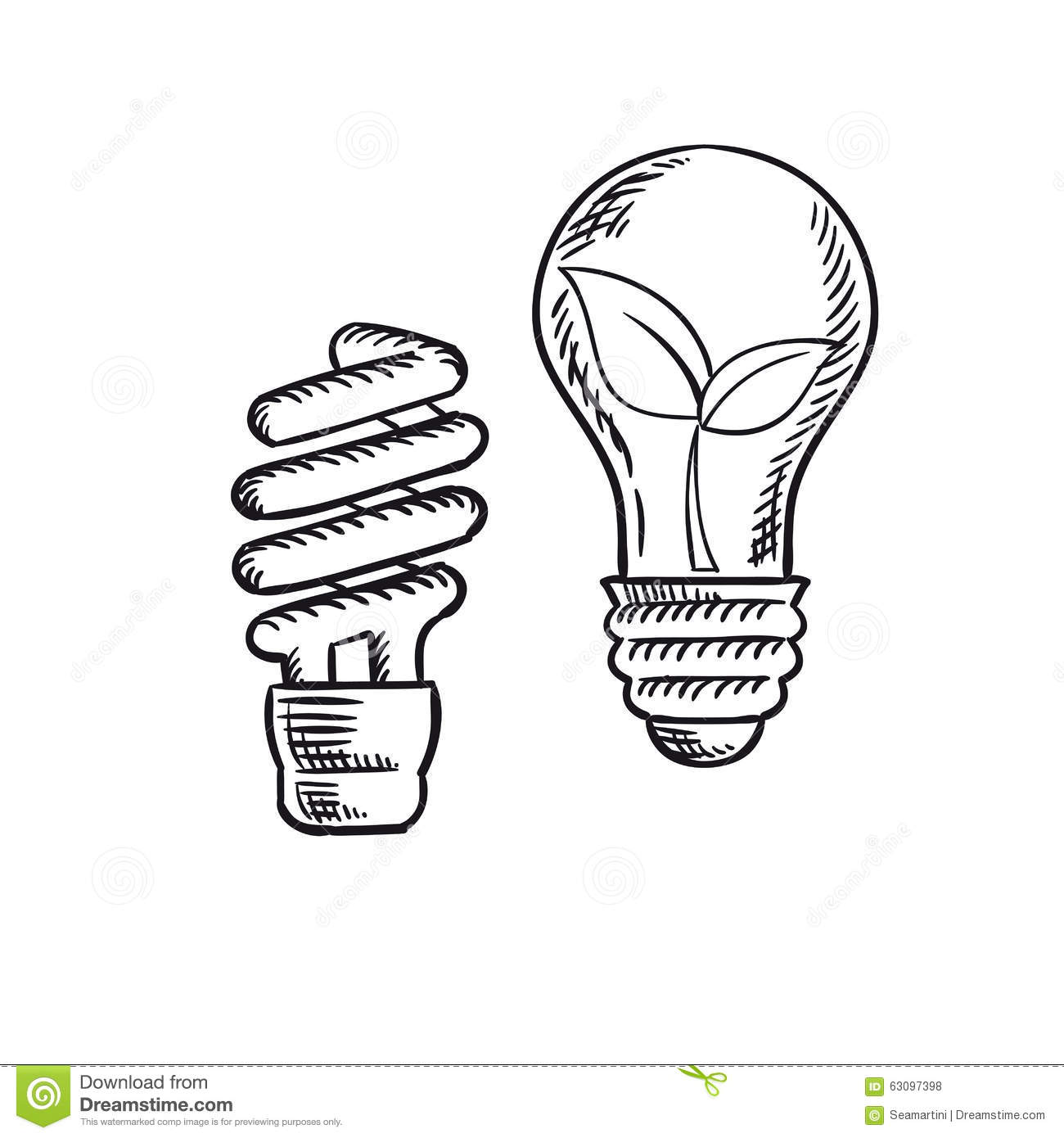 Sketch Of Save Energy And Old Light Bulb Stock Vector