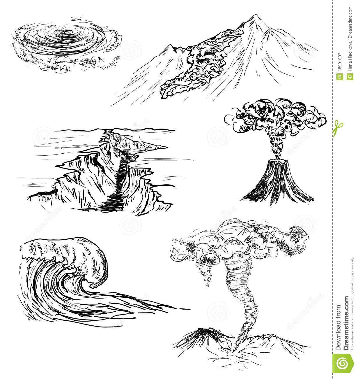 Sketch Of Six Natural Disasters Stock Illustration