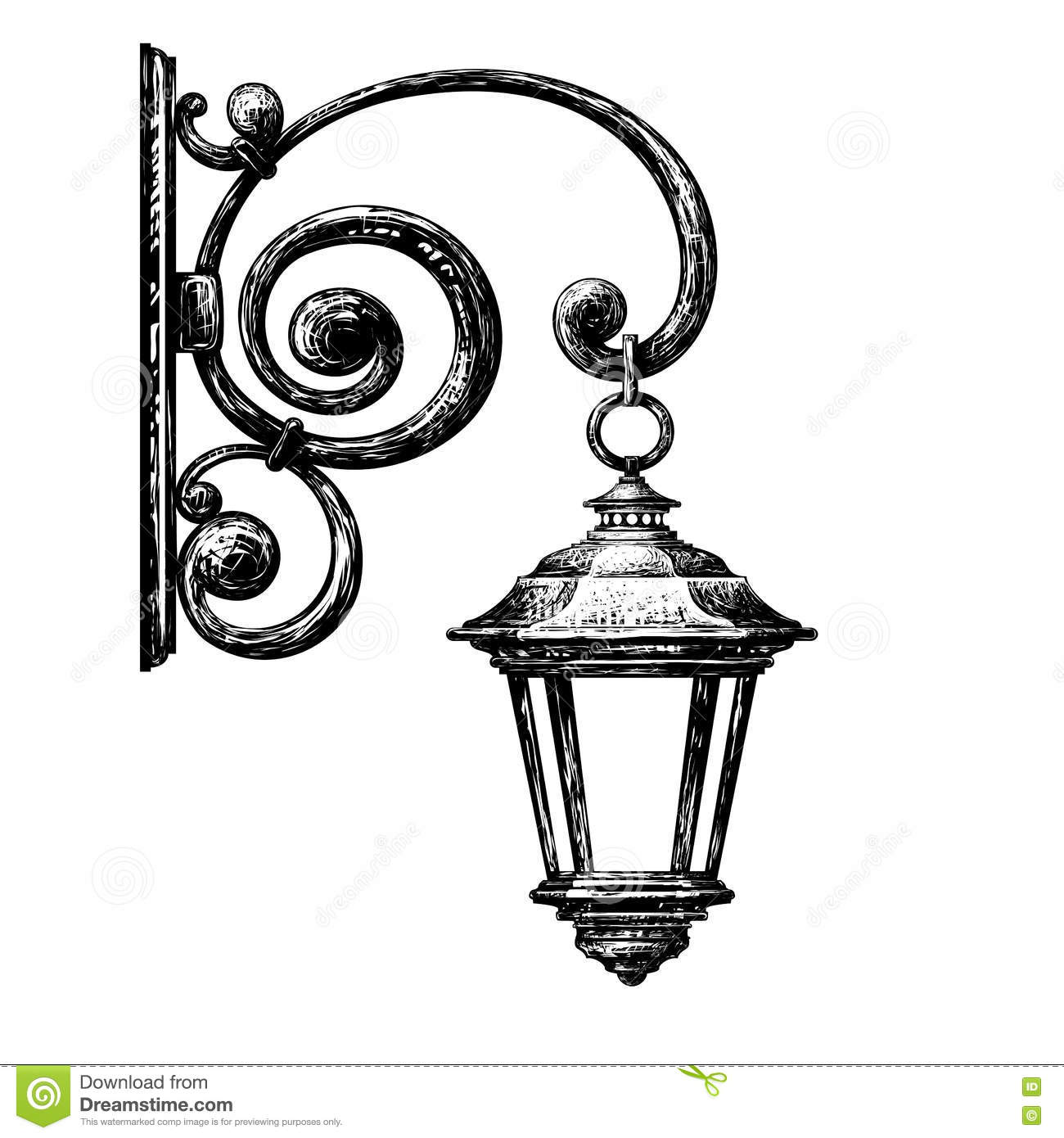 Sketch Of Street Light Street Post Stock Vector