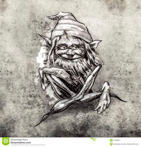 Sketch Of Tattoo Art Funny Sitting Gnome Stock