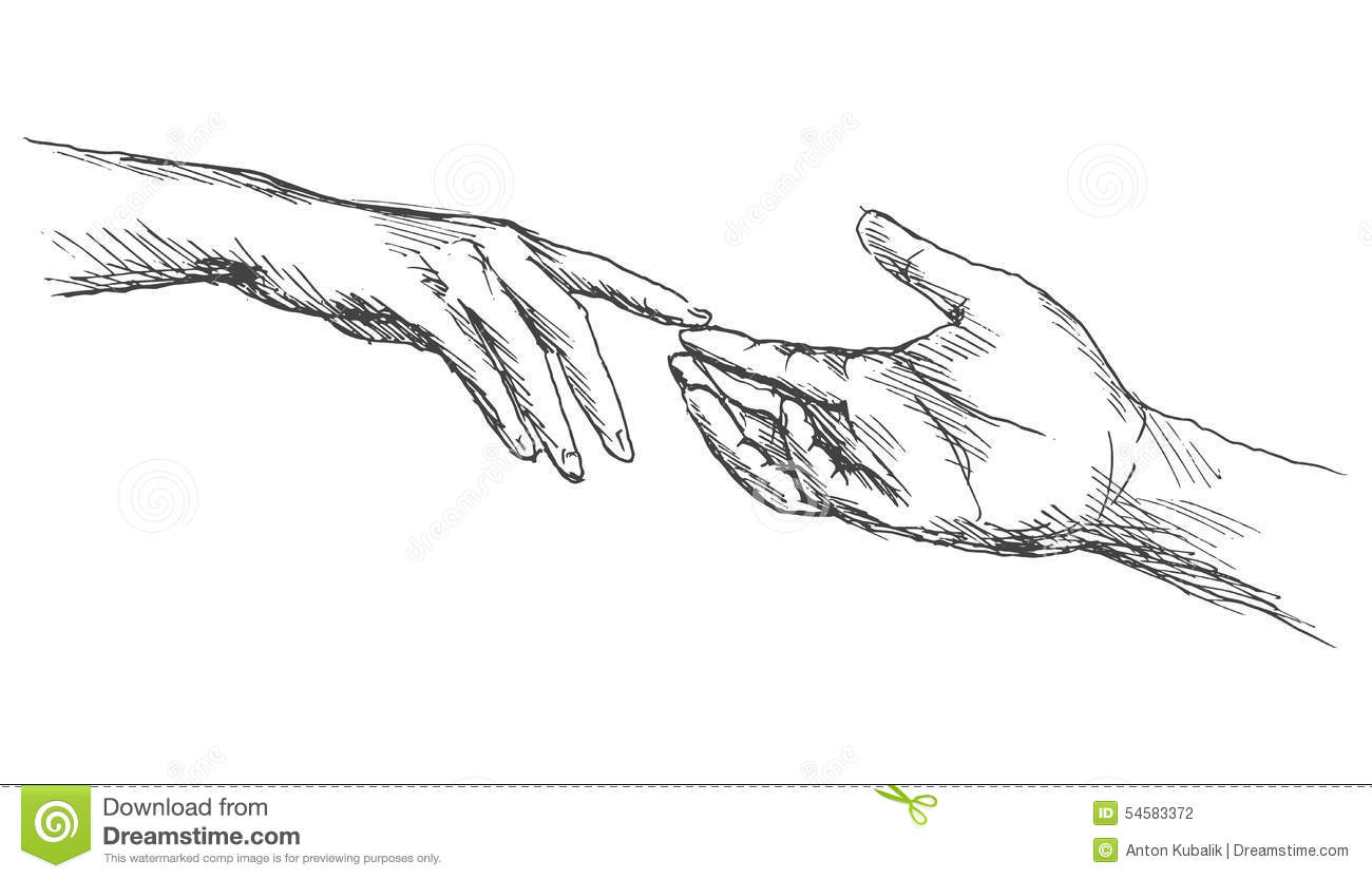 Sketch touching hands stock vector. Illustration of white