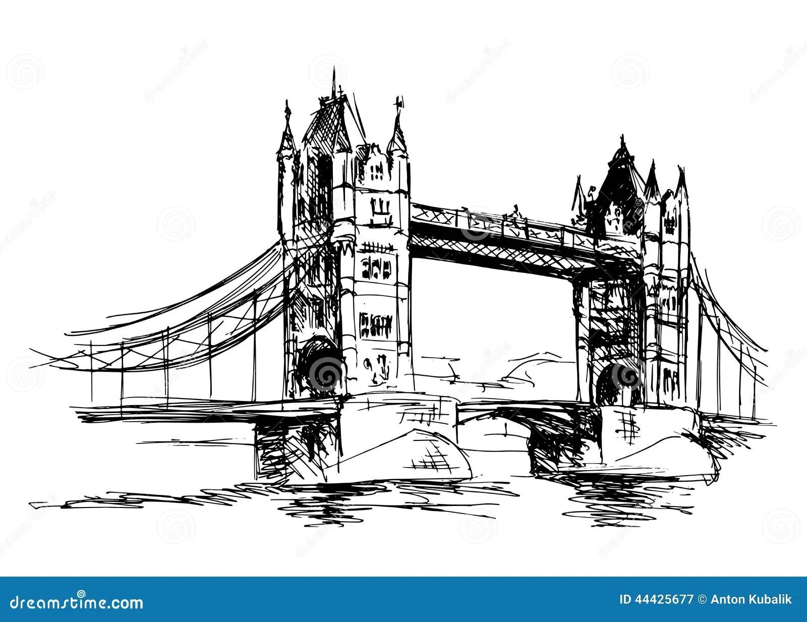 Sketch Tower Bridge Stock Illustration
