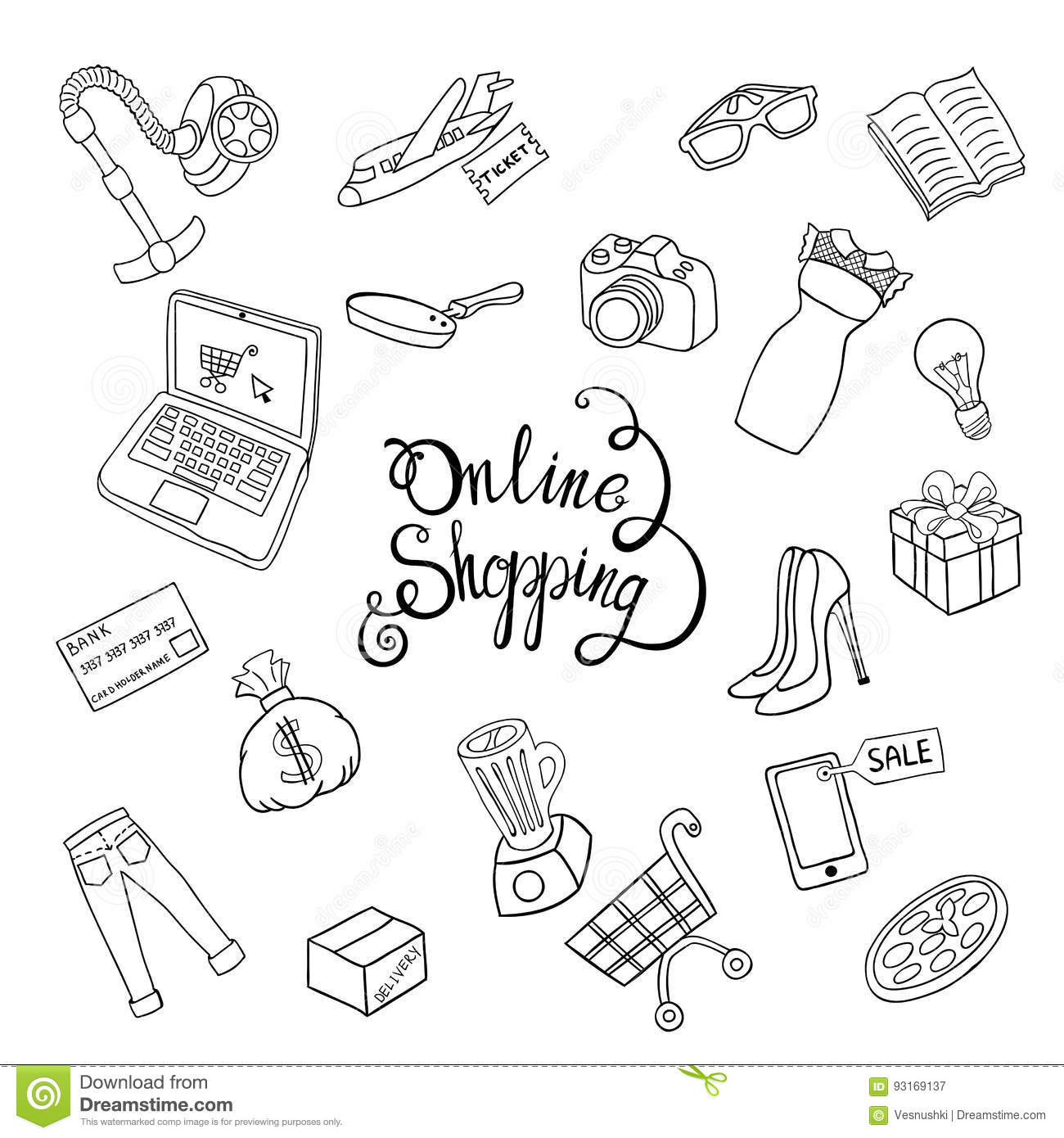 sketch diagram online e34 wiring vector hand draw concept shopping stock set of cartoon object on the illustration