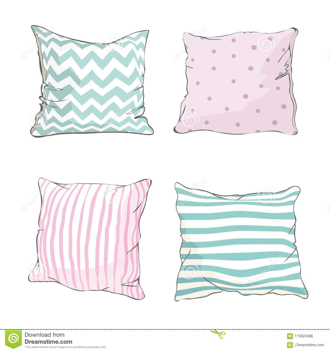 https www dreamstime com sketch vector illustration pillow art pillow isolated white pillow bed pillow bed comfort design domestic fabric feather image113624586