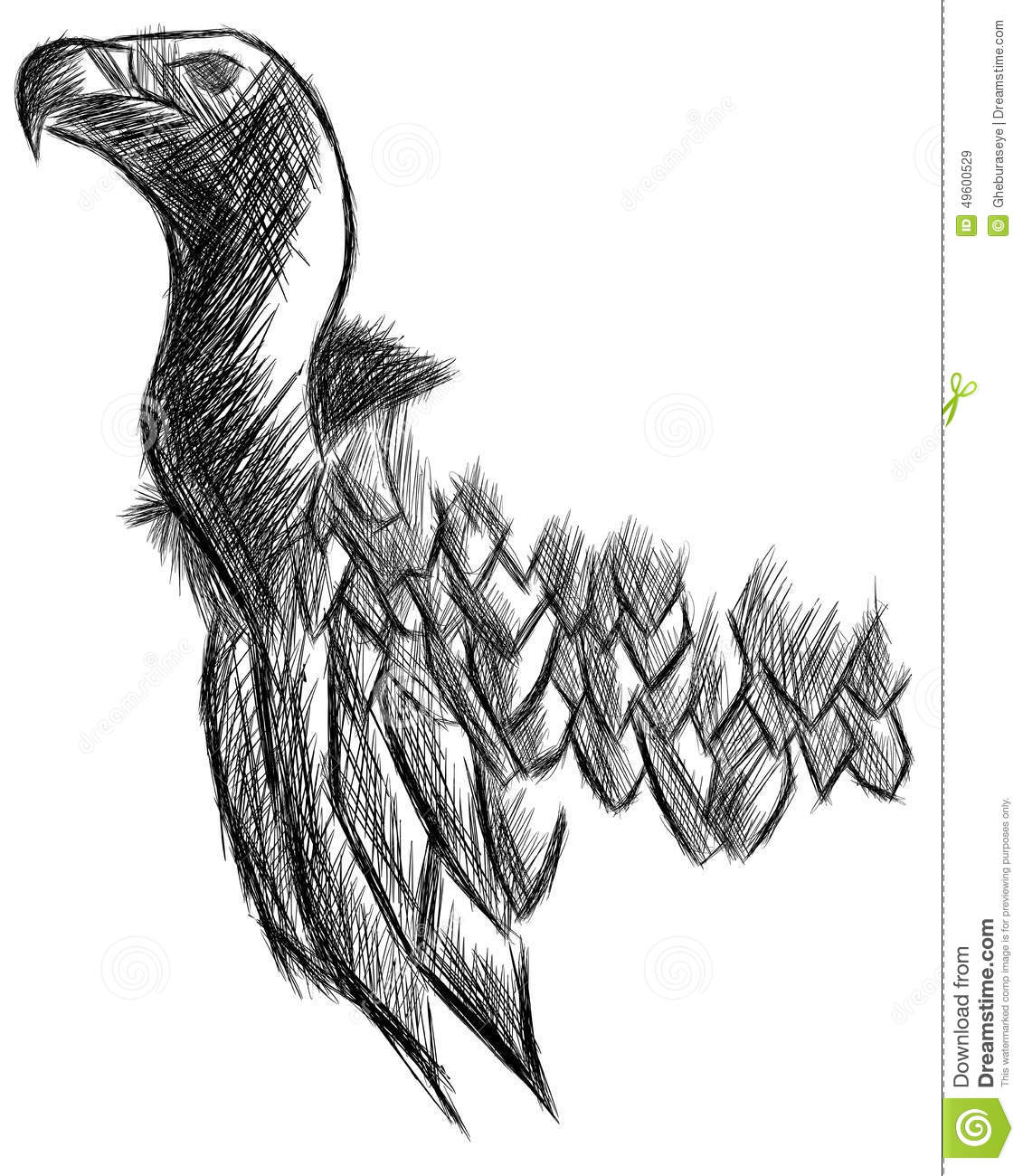 Sketch Of A Vulture In Black And White Isolated Stock Illustration