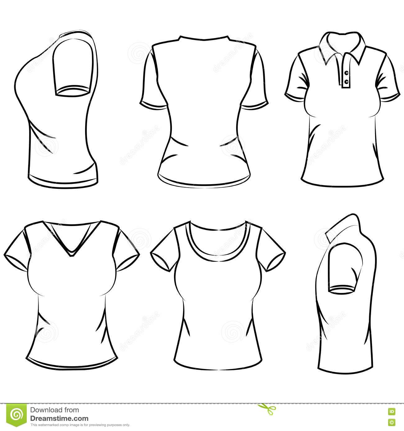 Sketch Women S Polo T Shirt Stock Illustration