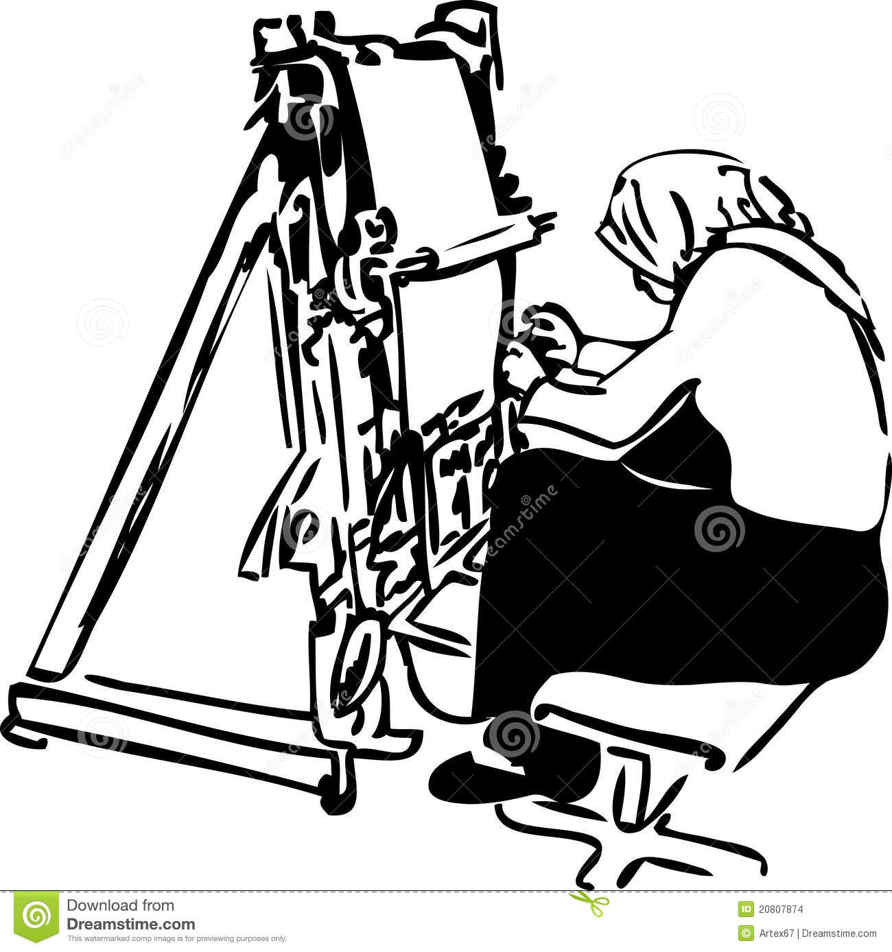 Sketch Of Women Weavers At The Loom Stock Vector