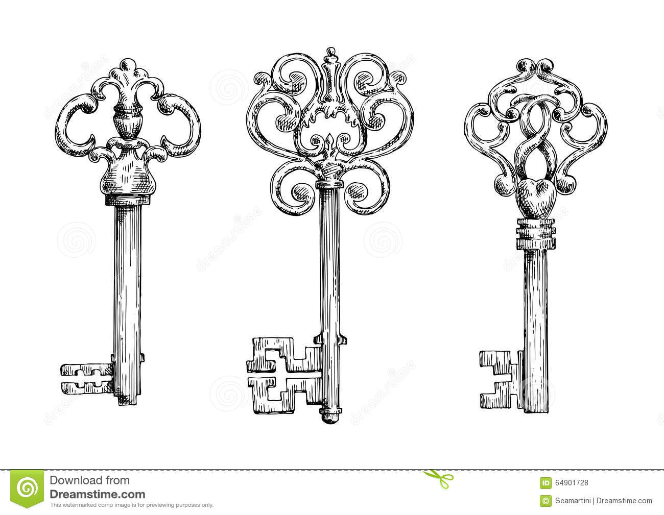 Sketches Of Vintage Keys With Forged Elements Stock Vector