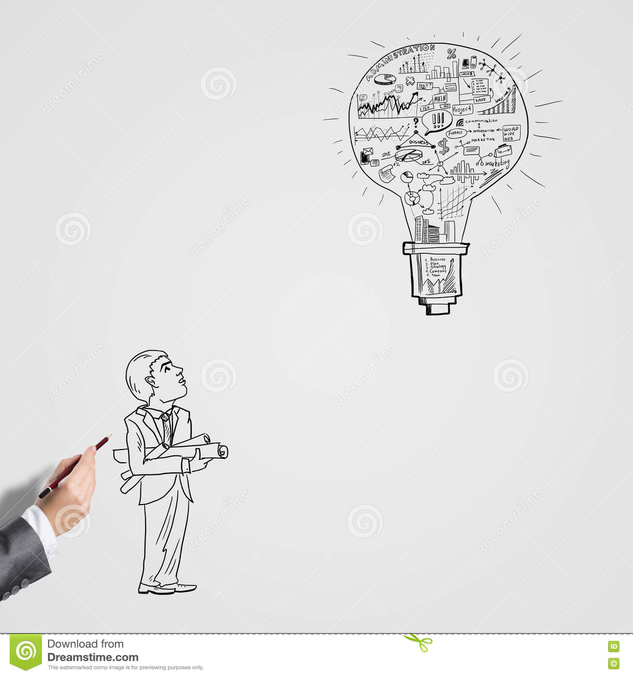 Sketching idea for success stock illustration