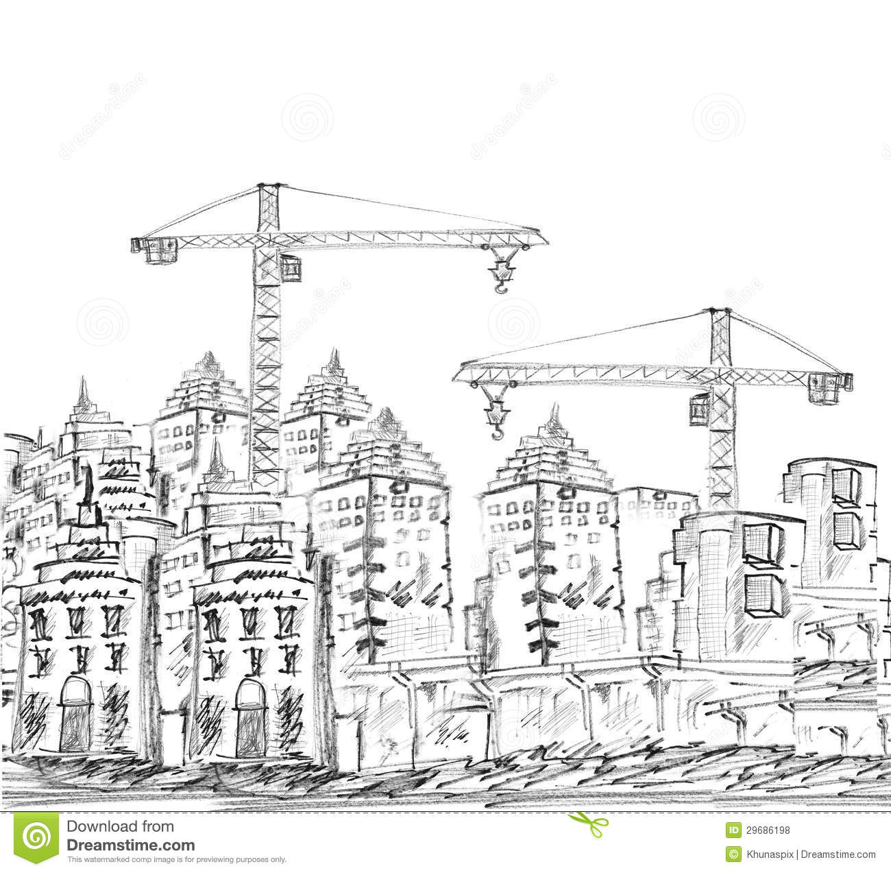 Sketching Of Modern Building And Construction Stock Photo