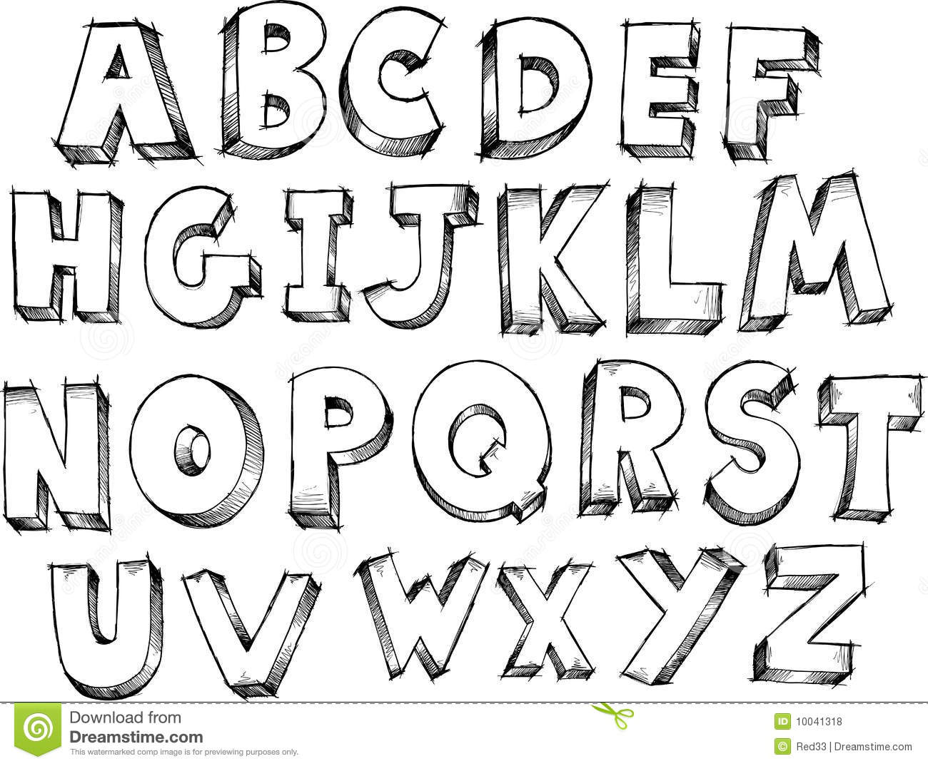 Sketchy Alphabet Vector Stock Vector Illustration Of
