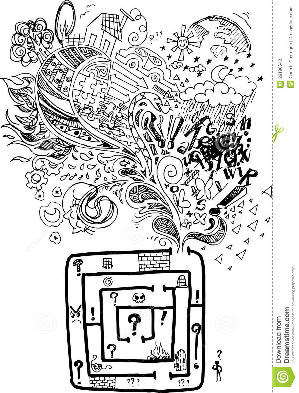 Sketchy Doodle Confused Maze Vector Stock Photography