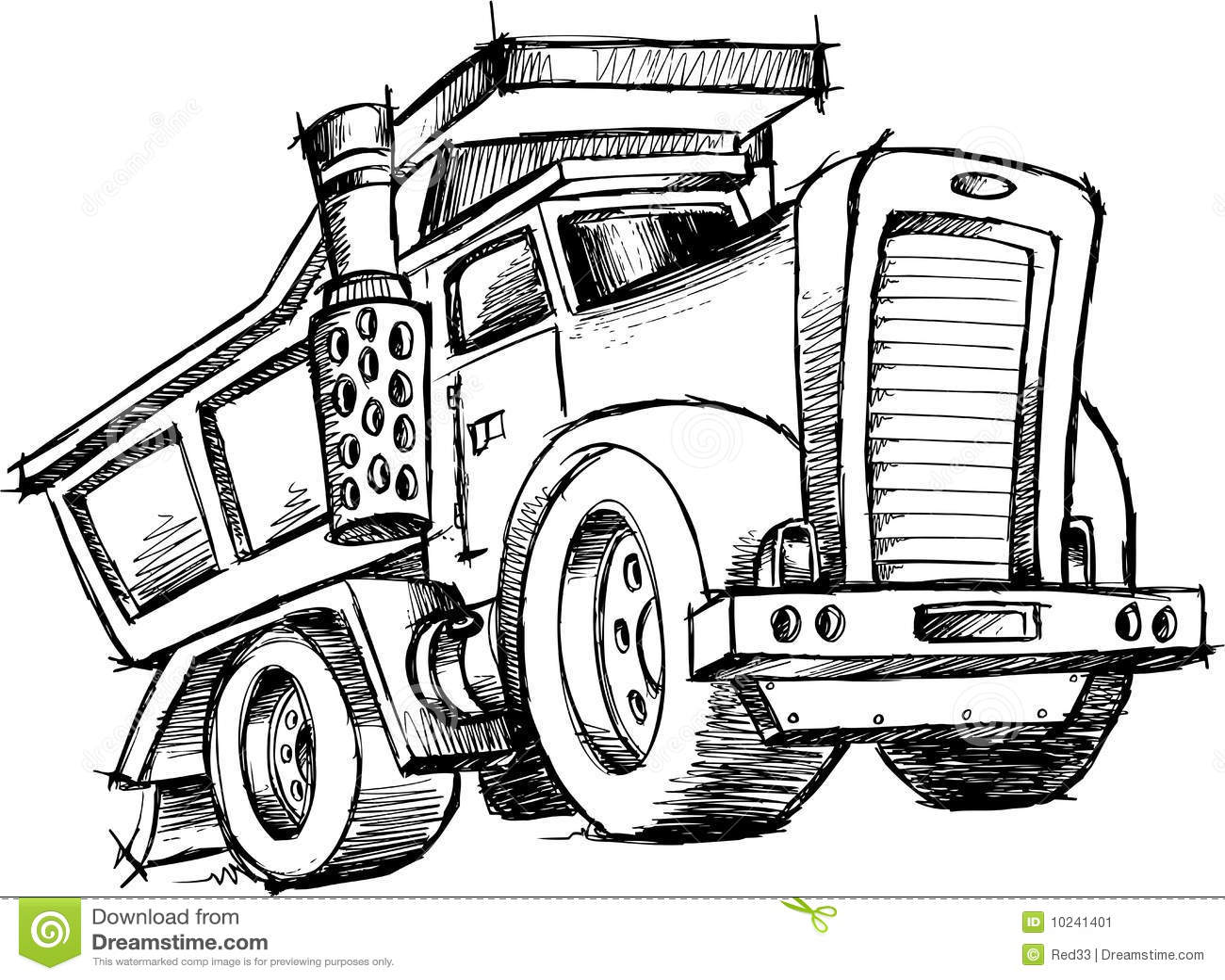 Sketchy Dump Truck Vector Stock Image