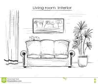 Sketchy Interior Illustration Of Living Room.Vector Hand ...