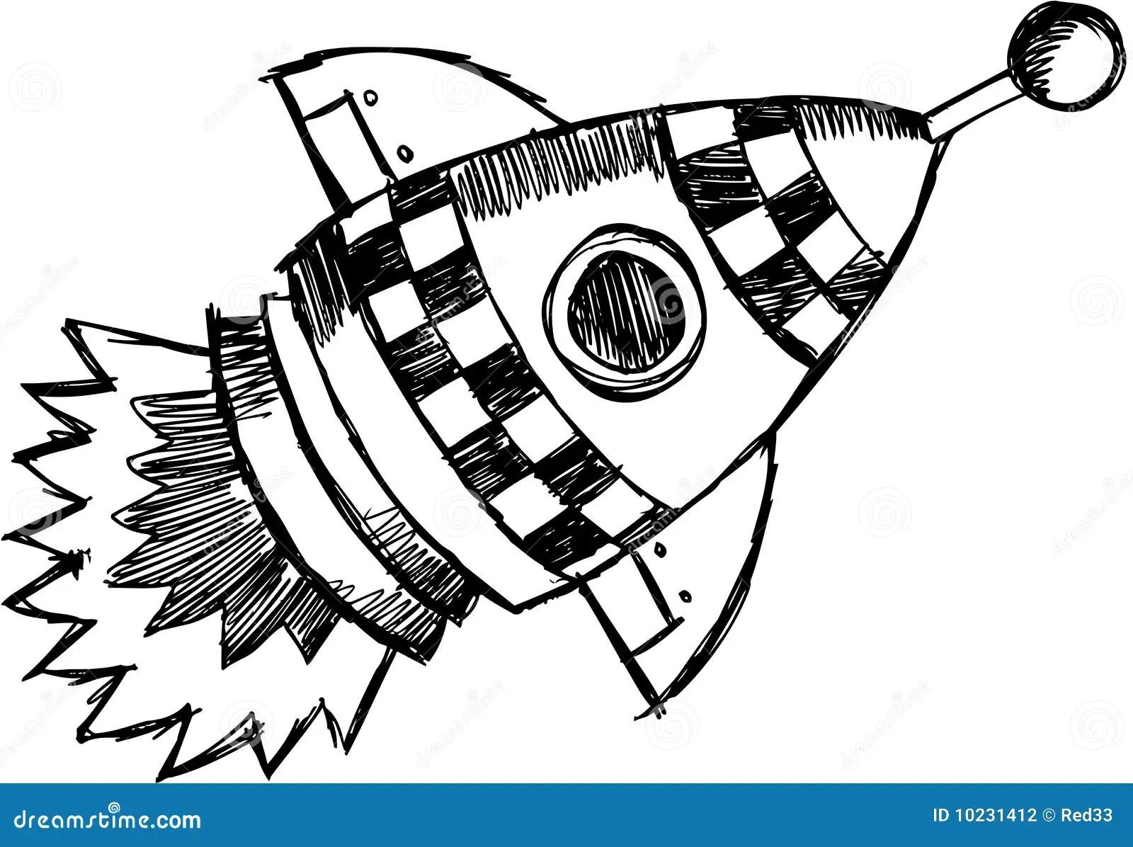 Sketchy Rocket Vector Illustration Stock Vector