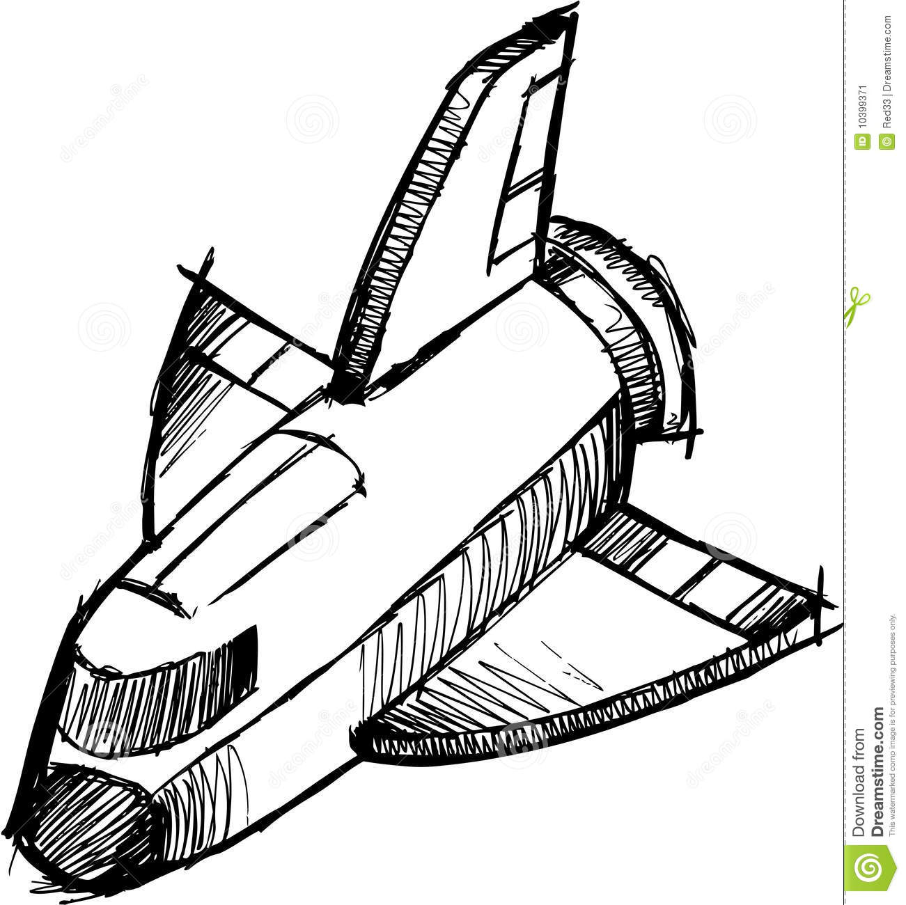 Sketchy Shuttle Rocket Vector Stock Vector
