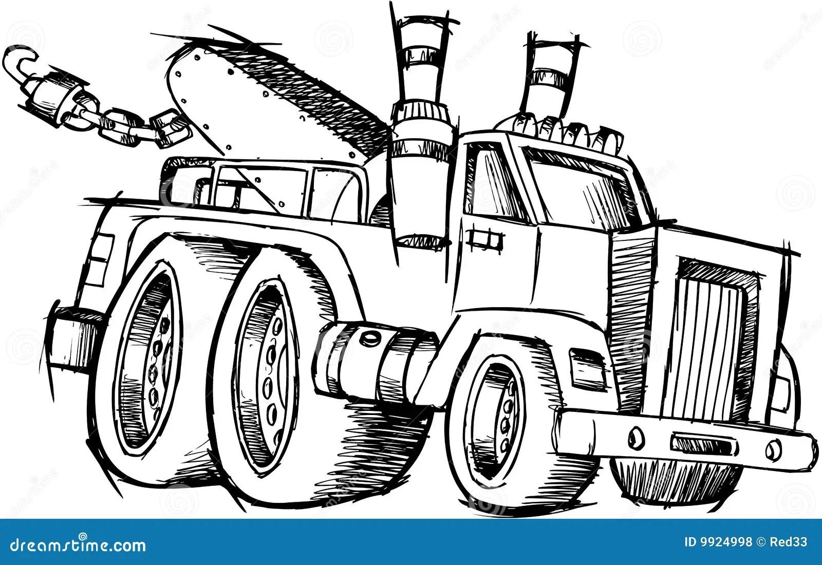 Sketchy Tow Truck Vector Royalty Free Stock Photos