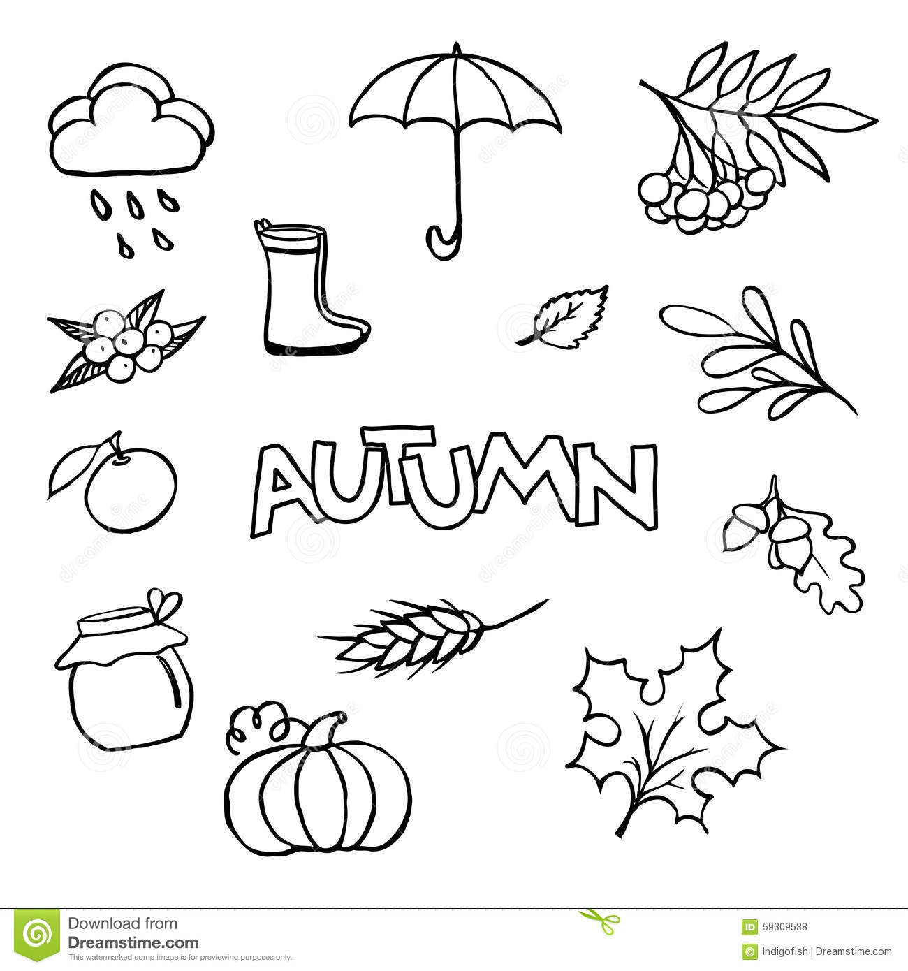 Sketchy Vector Hand Drawn Doodle Cartoon Set Of Objects On The A Stock Vector