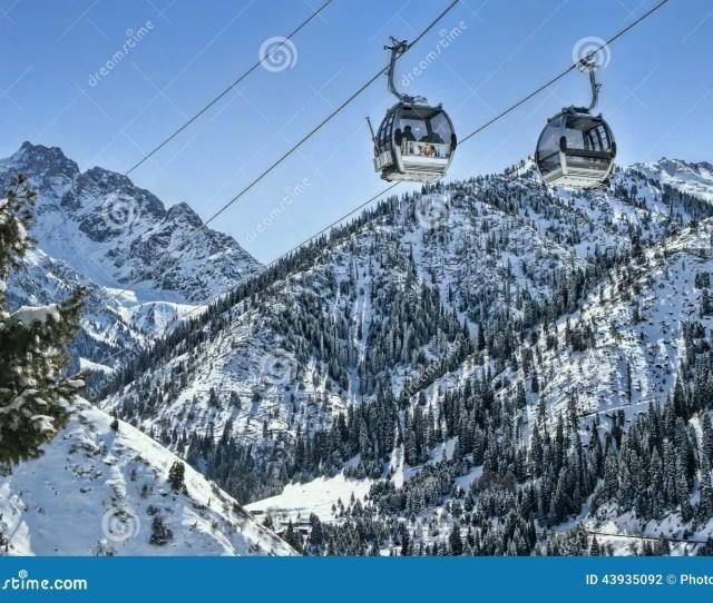 River Kazakhstan Almaty Ski Lifts In Winter Stock Photography