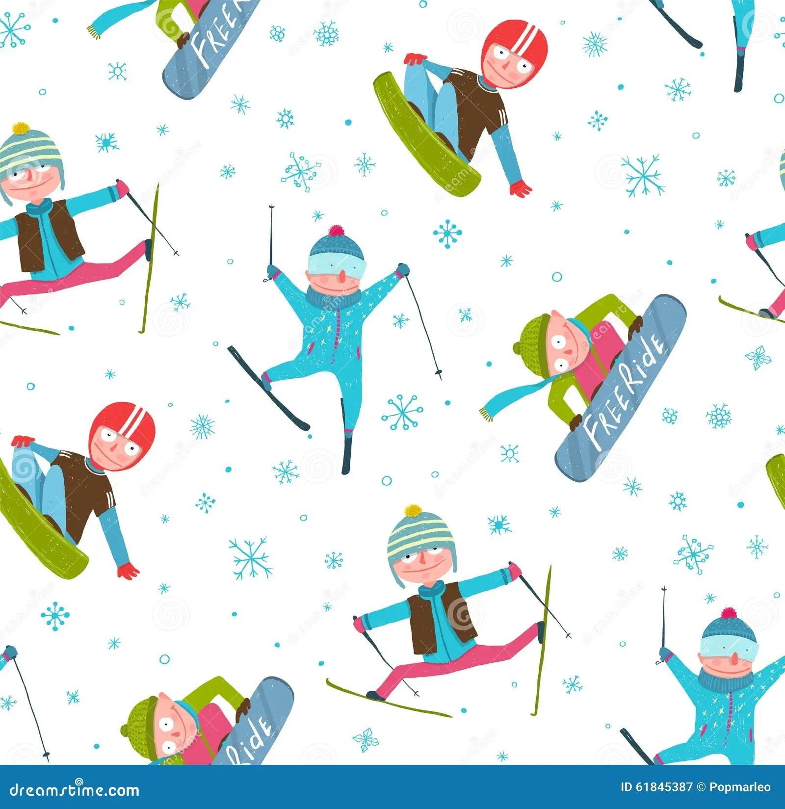 Skier Snowboarder Winter Sport Cartoon Seamless Stock