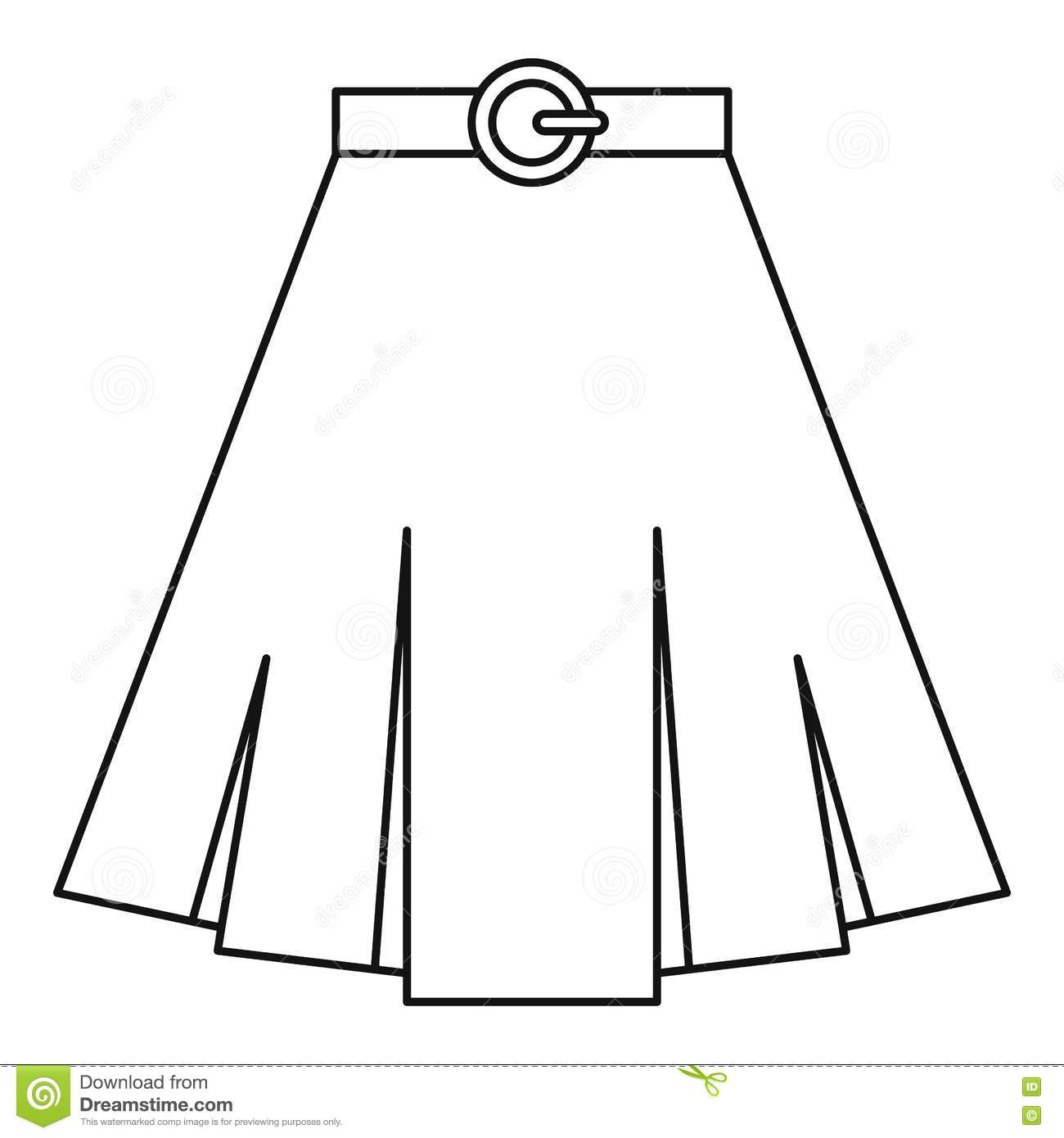 Skirt Icon, Outline Style Vector Illustration