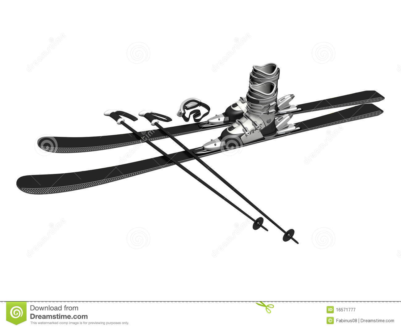 Skis Boots Goggles Poles Stock Illustration