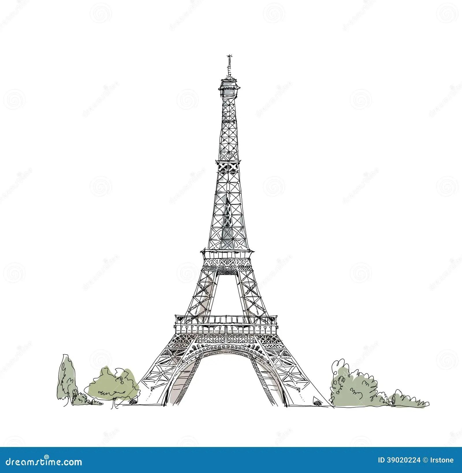 Skissa Av Eiffeltorn Paris Vektor Illustrationer