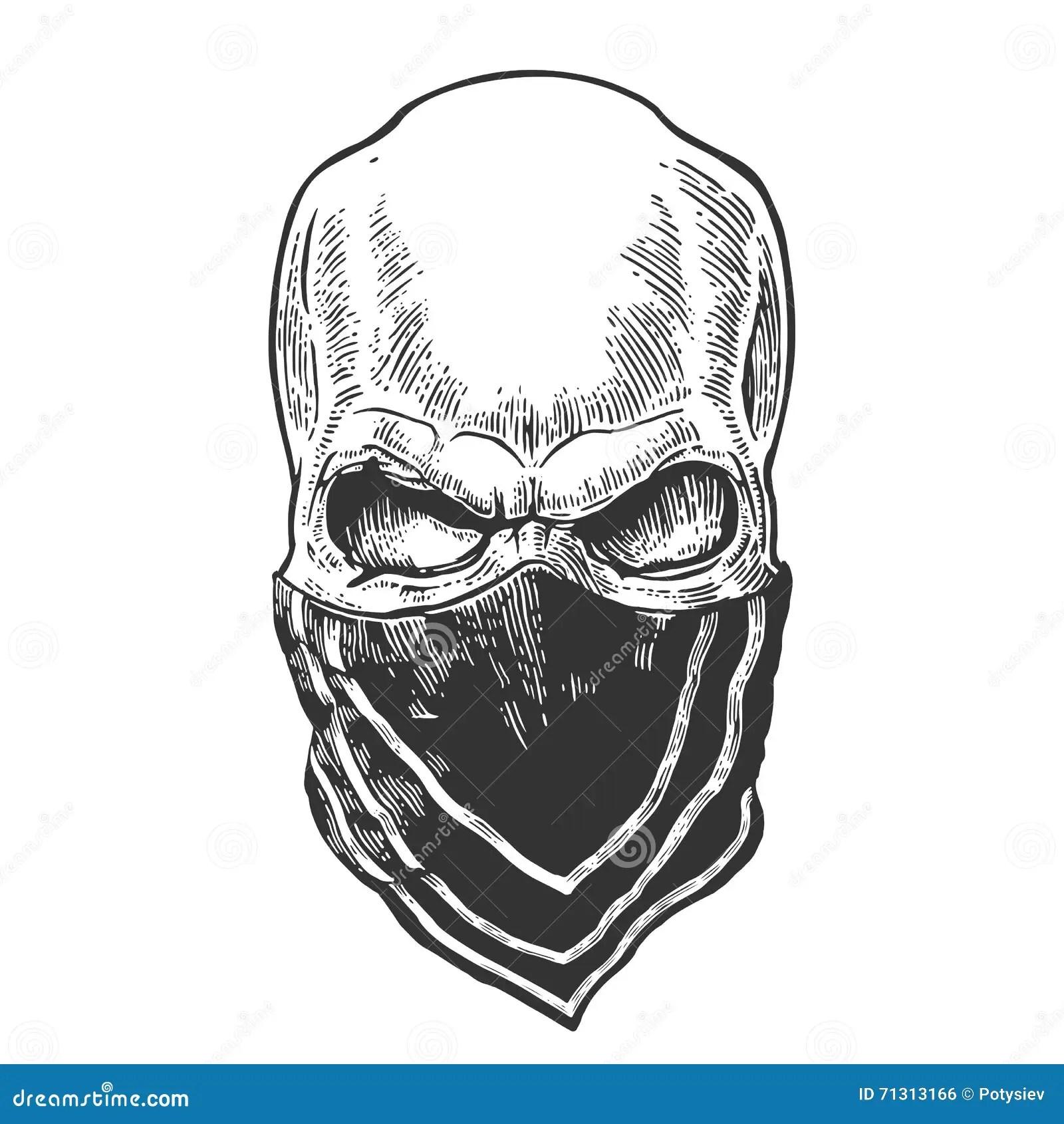 Skull With Bandana Black Vintage Illustration Stock