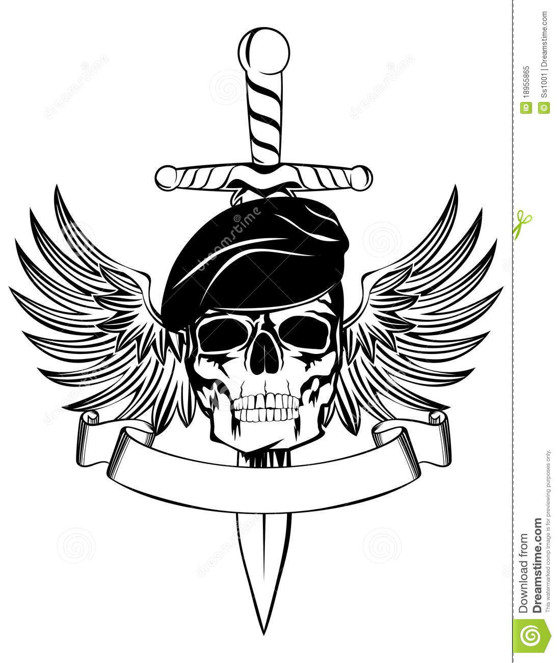 Skull In Beret Royalty Free Stock Photo