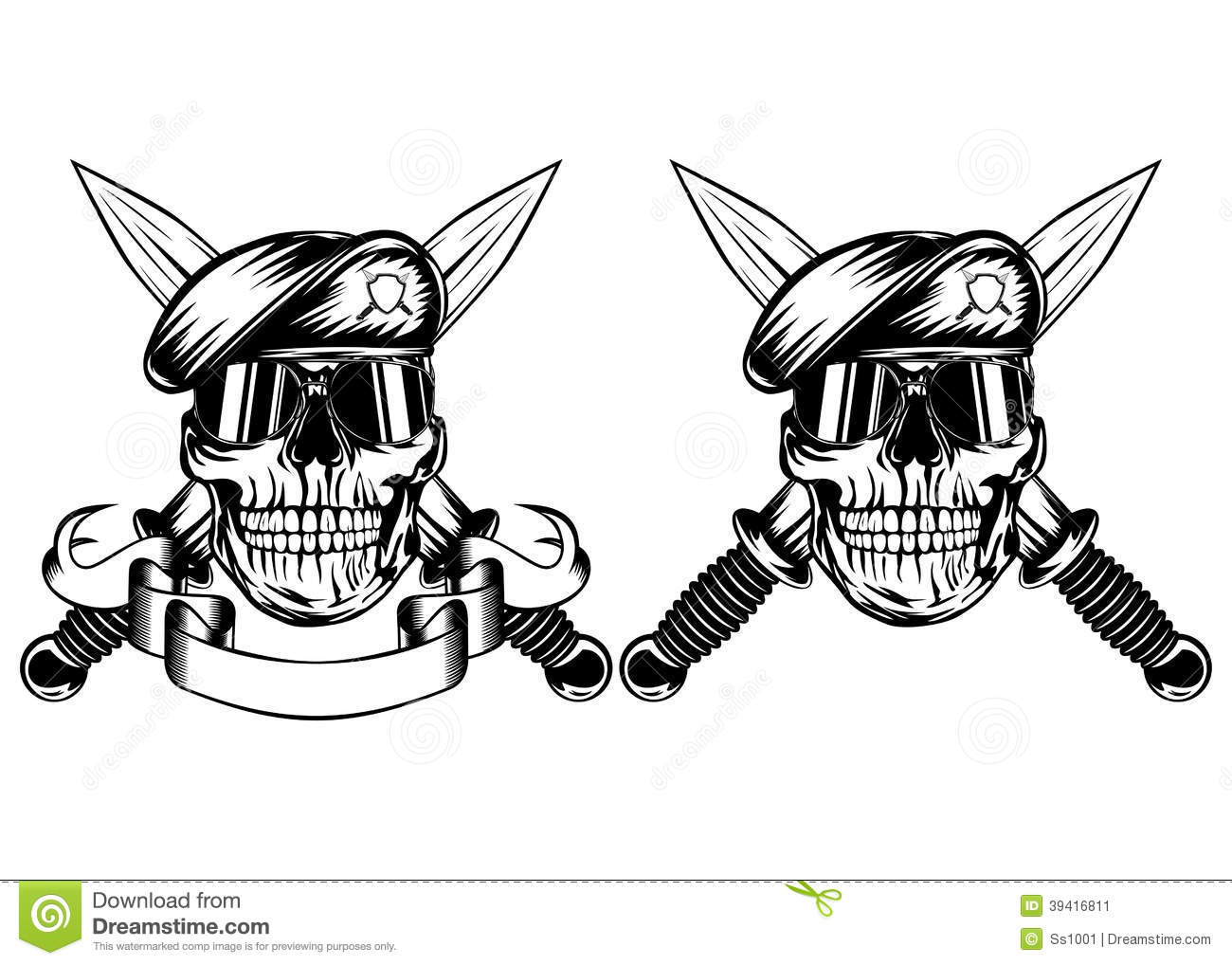 Skull In Beret And Daggers Stock Vector Illustration Of