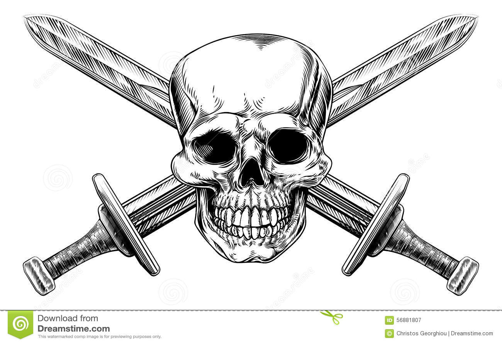 Skull Cross Swords Stock Vector Illustration Of Carving
