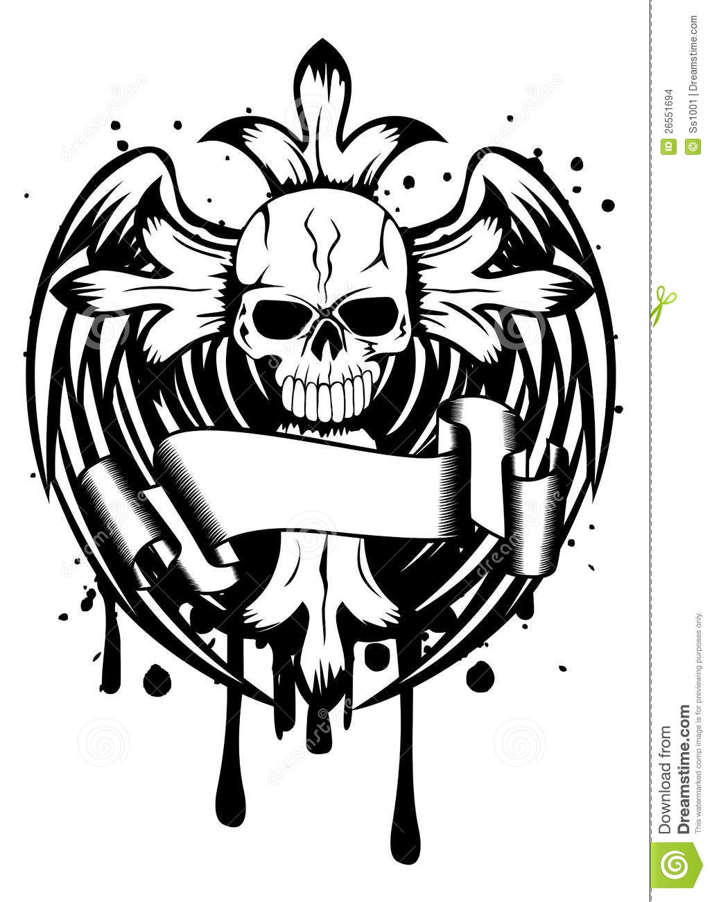 Skull With Cross And Wings Stock Images