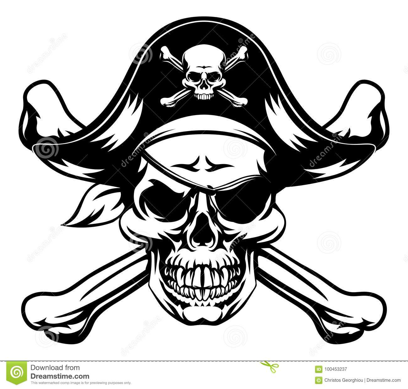 Pirate Skull And Crossbones Stock Vector
