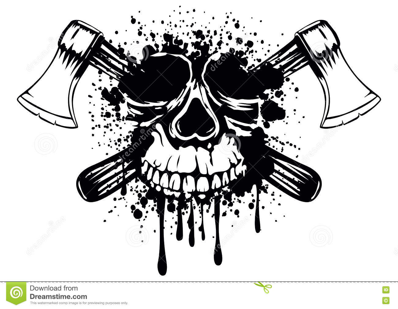 Skull With Crossed Axes Stock Vector