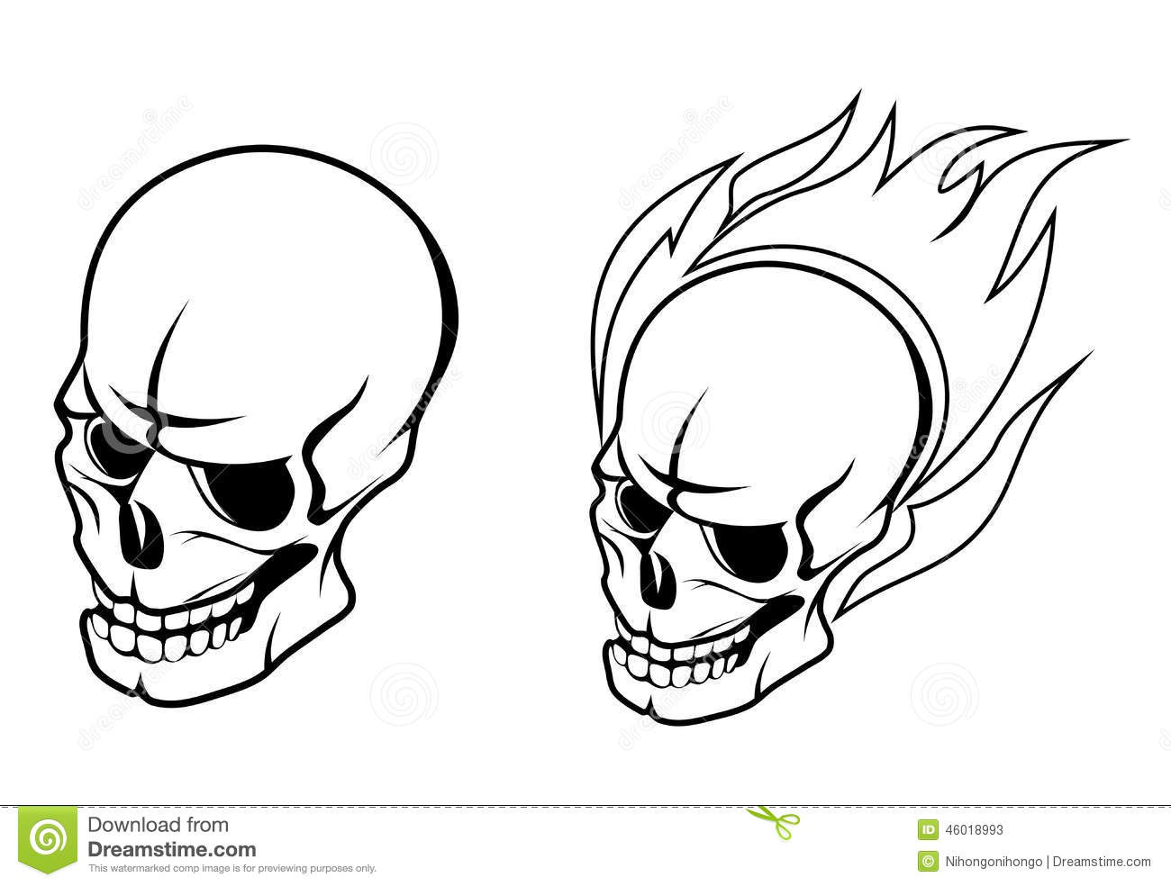 Skull With Fire Flame Stock Vector Illustration Of Evil