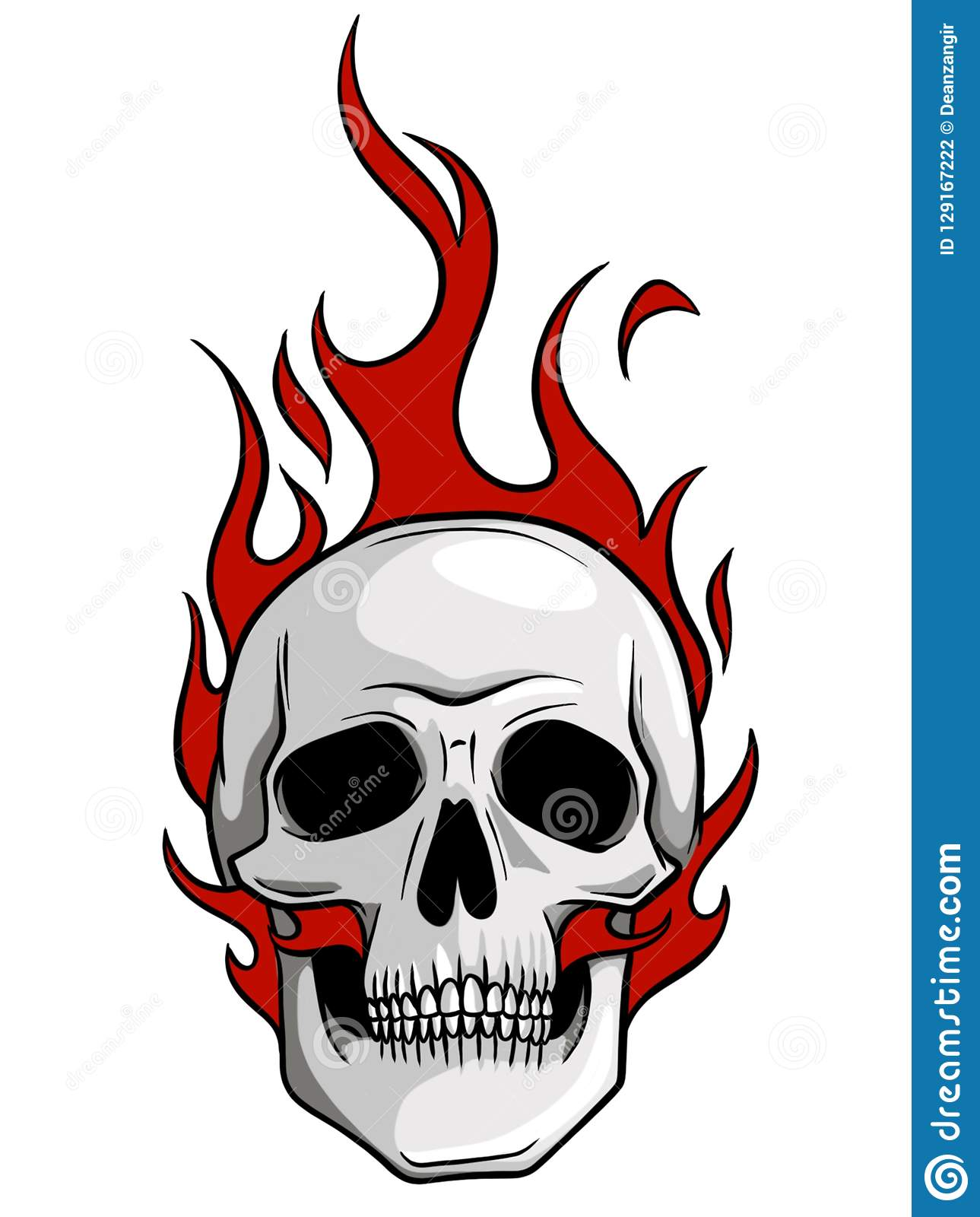 skull on fire with