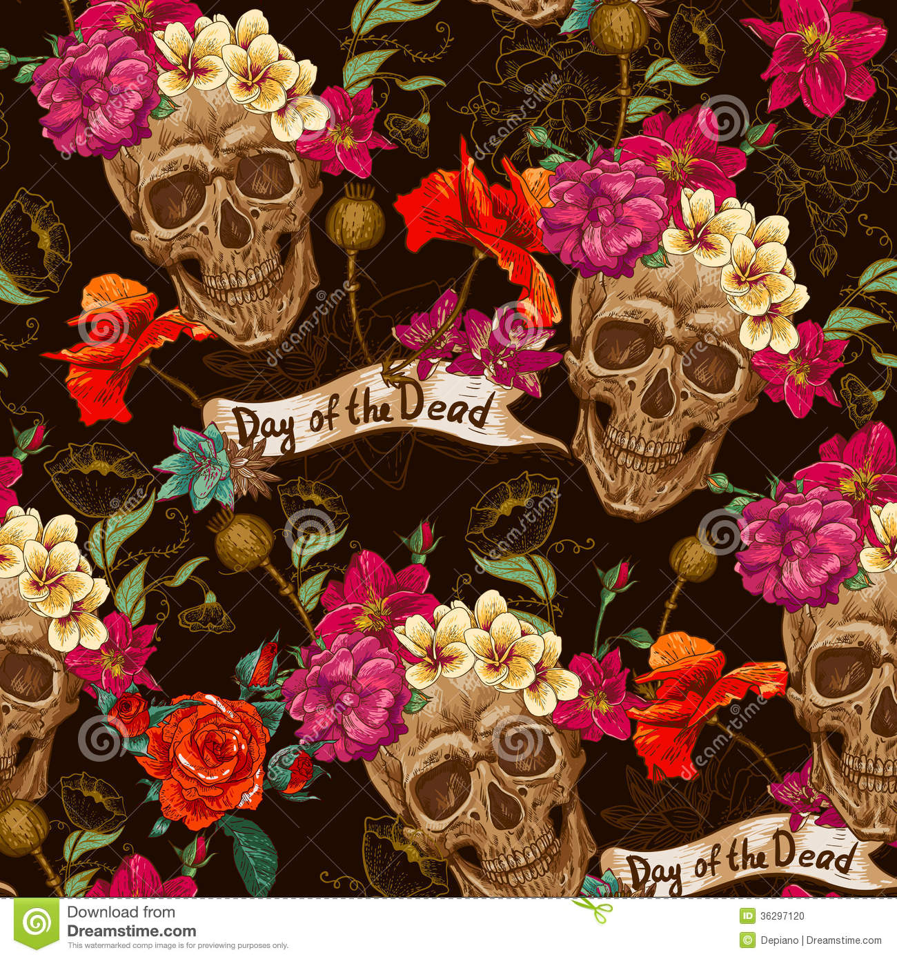 Frida Kahlo Wallpaper Iphone Skull And Flowers Seamless Background Stock Vector