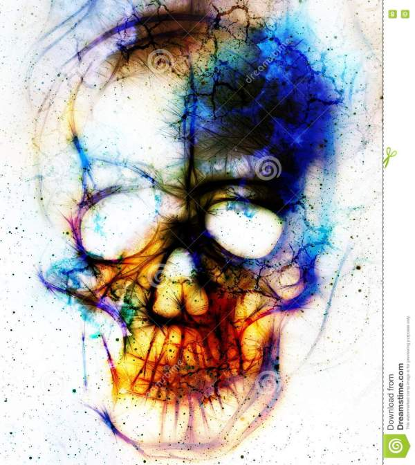 Skull And Fractal Effect. Color Abstract Background