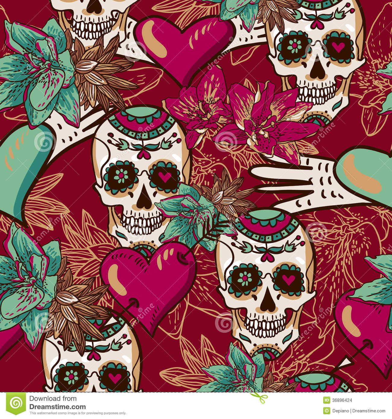 Skeleton Pattern Wallpaper Cute Skull Hearts And Flowers Seamless Background Stock Images