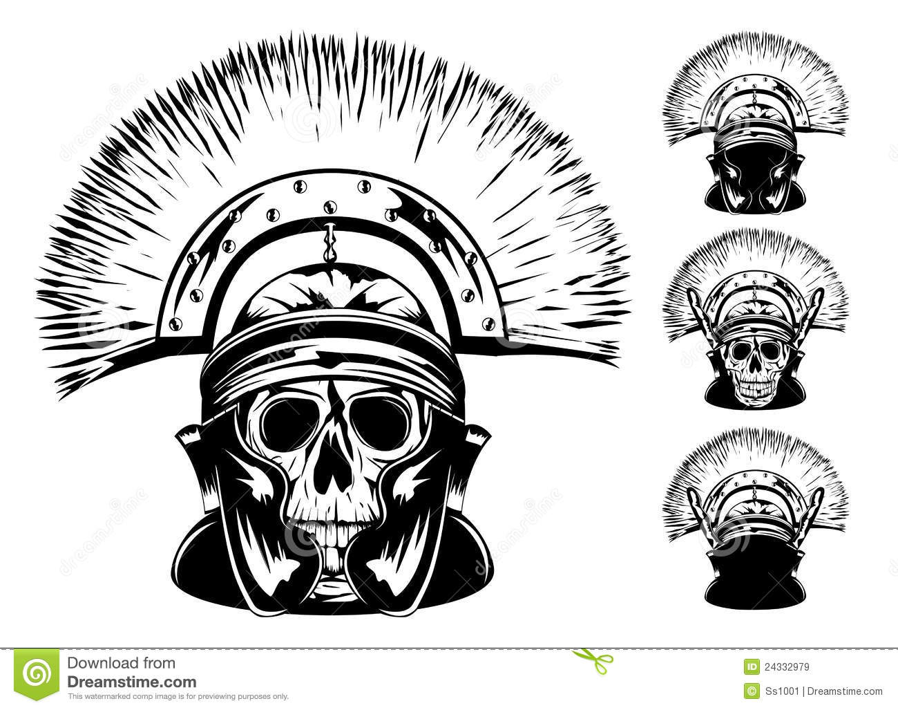 Skull in helmet stock vector. Illustration of antique